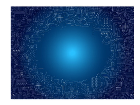 Circuit board frame on blue background vector illustration.