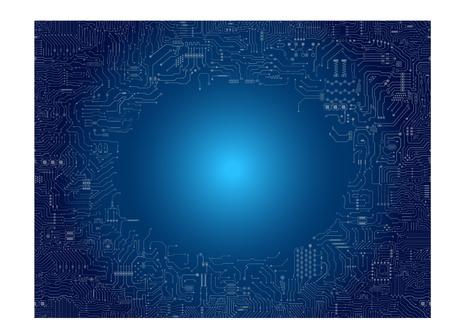 Circuit board frame on blue background vector illustration. Illustration