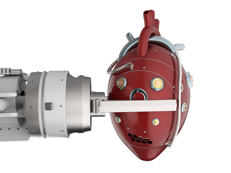 3d rendering robot hand holding red robotic heart isolated on white
