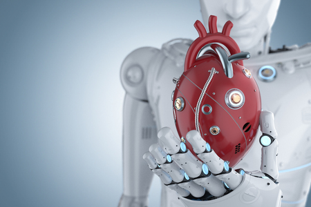 3d rendering robot hand holding red robotic heart on blue background Stock Photo