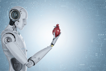 3d rendering robot hand holding red robotic heart on blue background Фото со стока