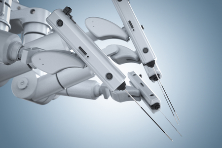 3d rendering robot surgery machine on blue background