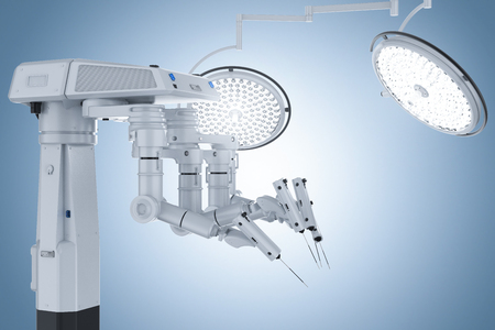 3d rendering robot surgery machine with surgery lights on blue background  Stok Fotoğraf