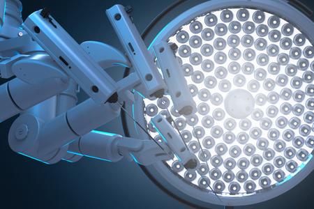 3D-rendering robotchirurgie-machine met operatielichten Stockfoto
