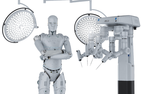 3d rendering robot surgery machine with cyborg and surgery lights on white background  Фото со стока
