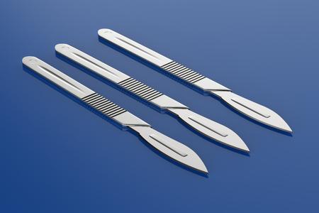 3d rendering scalpel or surgery knife on blue background  版權商用圖片