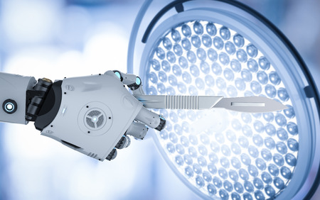 3d rendering robot hand holding scalpel or surgery knife