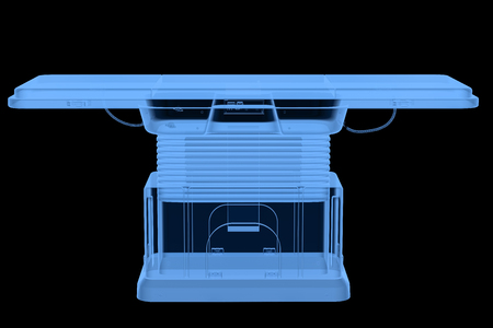 3d rendering x-ray gurney or surgery bed isolated on black