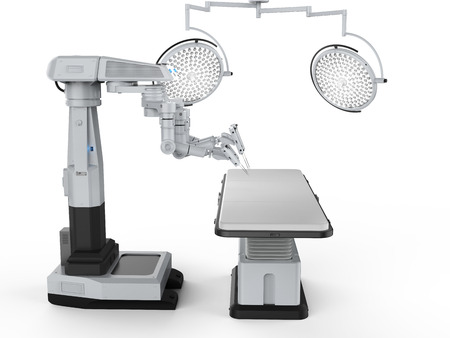 3d rendering surgery room with robotic surgery machine on white background
