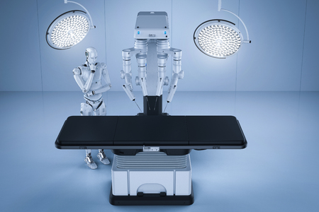 3d rendering robot surgery machine with cyborg and empty bed  Stock Photo