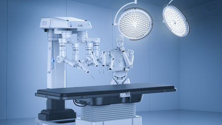 3d rendering robot surgery machine with cyborg and empty bed  Фото со стока