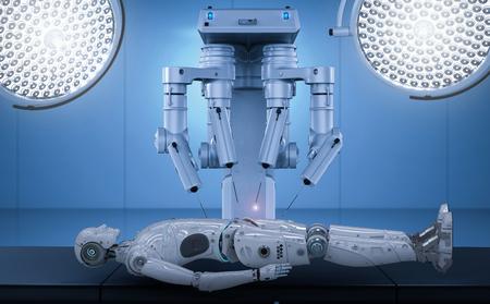 3d rendering robot surgery machine maintenance ai cyborg   Фото со стока