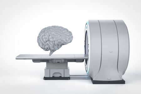 3d rendering human brain with mri scan machine