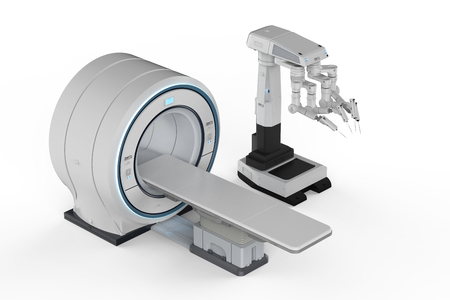 3d rendering mri scan machine with robot surgery