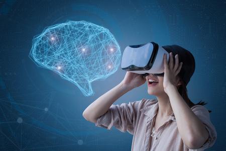 asian woman enjoy vr headset with ai brain illustration