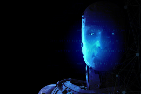 3d rendering humanoid robot with ai brain