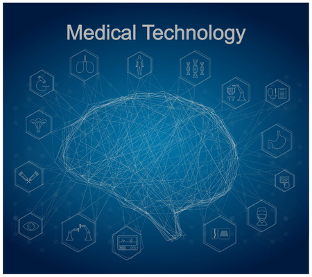 Medical technology concept with brain connection and medical icons vector illustration