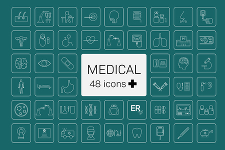 48 medical treatment and equipment icons on green background vector illustration