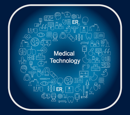 Medical technology concept medical icons in circular shape vector illustration
