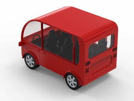 3d rendering red mini van or shuttle bus on white background