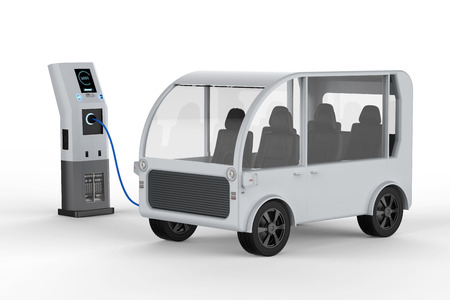 3d rendering shuttle bus charges with electric charging station Zdjęcie Seryjne