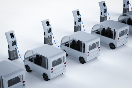 3d rendering shuttle bus charge with electric charging station