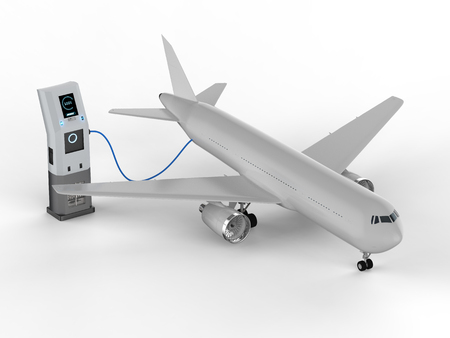 3d rendering airplane charges with electric charging station Stok Fotoğraf