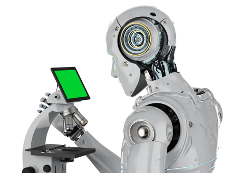 3d rendering robot working on microscope with monitor display isolated on white Stock Photo