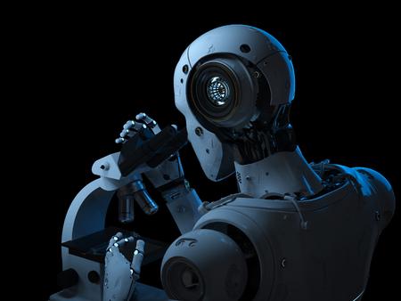 3d rendering robot working on microscope on black background 免版税图像 - 104900721