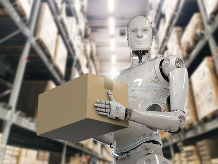 3d rendering humanoid robots carry cardboard boxe in warehouse Stock Photo