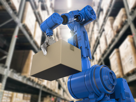 3d rendering robotic arm carry cardboard box in warehouse Stockfoto