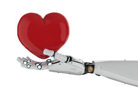 representación 3d mano que sostiene el corazón rojo sobre fondo blanco