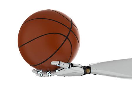 3d rendering robotic hand holding basketball on white background Imagens