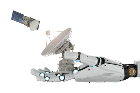 telecommunication technology concept with 3d rendering robotic hand holding satellite dish