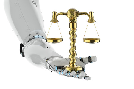 cyber law concept with 3d rendering robotic hand holding golden scale on white background