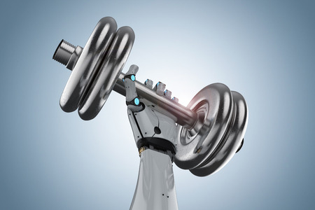 3d rendering robotic hand holding metallic dumbbell on white background Фото со стока