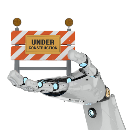 3d rendering robotic hand holding under construction signon white background 写真素材