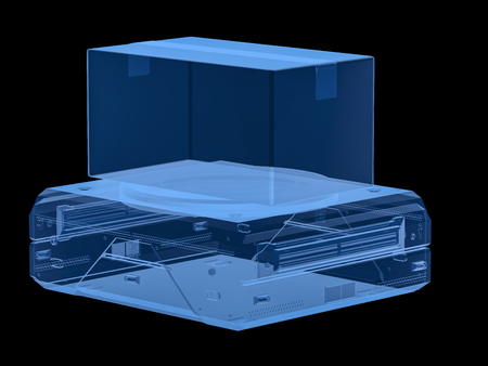 3d rendering x-ray warehouse robot carry cardboard box isolated on black Stockfoto