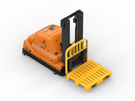 3d rendering automatic forklift on white background