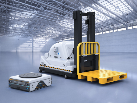 3d rendering automatic forklift with warehouse robot in factory