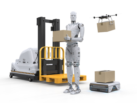 3d rendering automatic forklift with warehouse robot and drone in factory