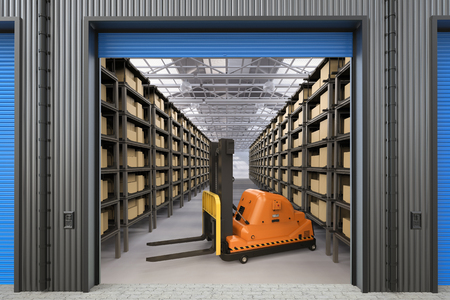3d rendering empty automatic forklift in warehouse