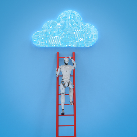 3d rendering robot climb ladder to develop circuit cloud Stock Photo