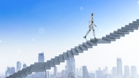 3d rendering robot climb or walk up staircase