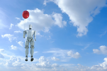 Friendly technolgoy concept with 3d rendering robot hold red balloon fly up on blue sky