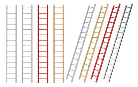 3d rendering wooden and chromium ladders isolated on white Stok Fotoğraf - 105499550