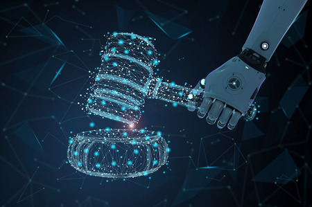 Internet law concept with 3d rendering ai robot with gavel judge Reklamní fotografie