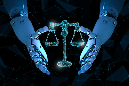Internet law concept with 3d rendering ai robot with law scale Stock Photo