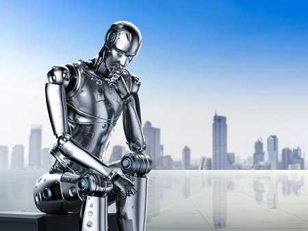 3d rendering ai robot think or compute Stock Photo - 108286990