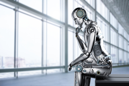 3d rendering ai robot think or compute Stock Photo - 108286992